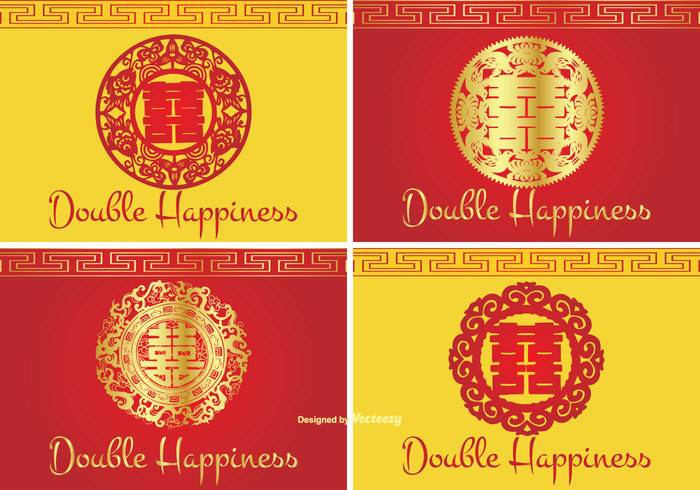 Chinese Double Happiness Symbol Label Set Welovesolo