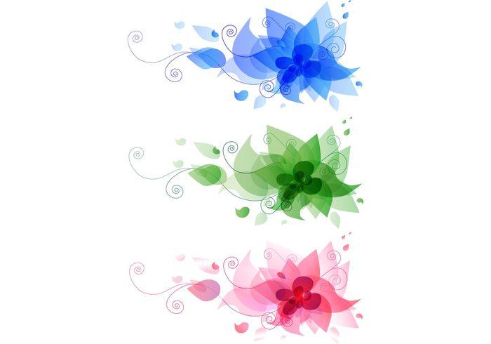 vector spring pink green flower blue beautiful banner