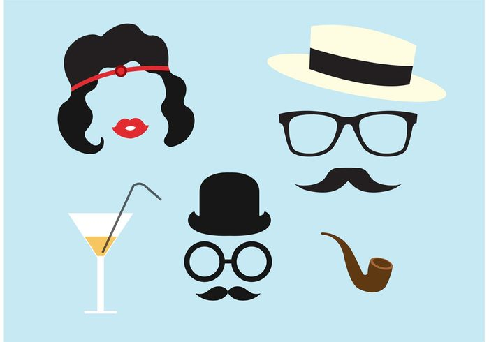 young women vintage icons vintage twenties stylish style roaring 20s roaring retro elements retro person party mustache mafia lady Jazz hat Hairstyle glasses girl fashion chicago charleston character beauty beautiful accessories 20s 1920s