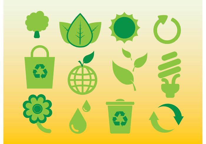 world trees symbols suns recycle plastic paper leaf lamp icons green fresh elements ecology eco earth drop design bin bag arrow