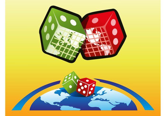 world planet Pair of dice map logos las vegas games gamble earth die continents casino cartoon