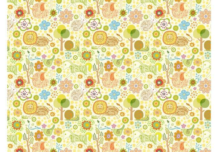 trees snails seamless rabbit plants lions horses hand drawn fantasy fabric pattern Clothing print bunny birds animals