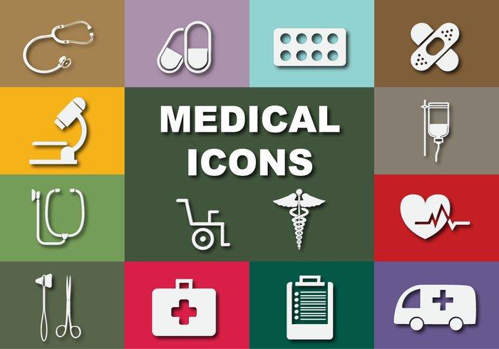 symbol stethoscope set pill medicine medical icons hospital health flat drug doctor DNA design dentist clinic care blood background Ambulance
