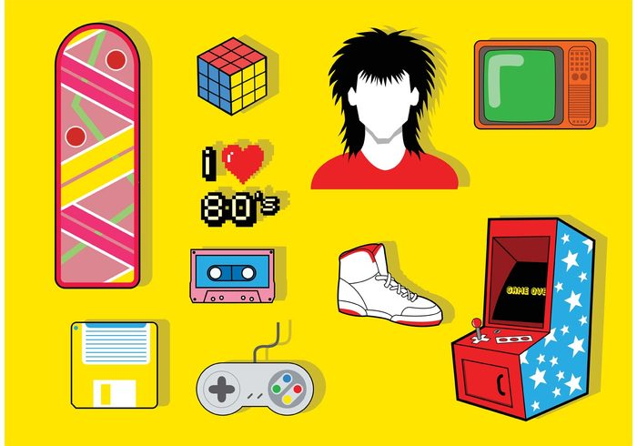 videogame tv tape skateboarding skateboard shoes shoe rubix cube rock and roll overboard nintendo music high top shoe hair game floppy disk floppy cassette tape cassette arcade game arcade 80's icons 1980