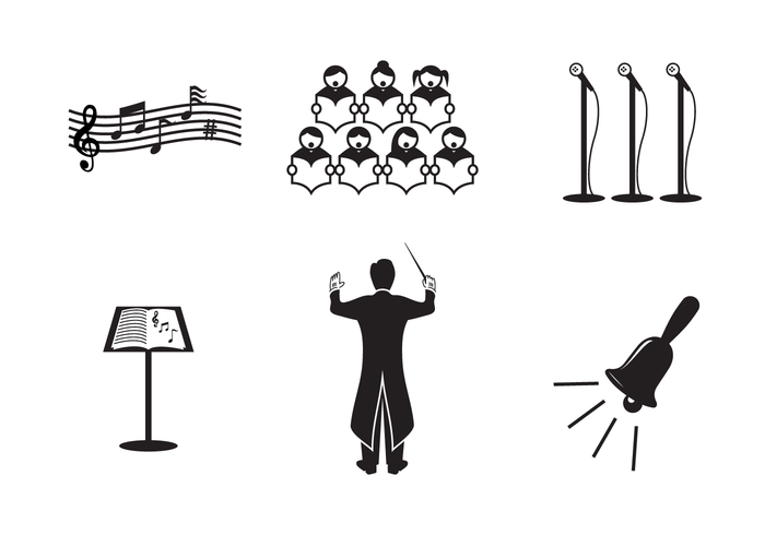 symphony symphonic songbook Sing silhouette set professional person performer performance people orchestral Orchestra Opera musician musical music Maestro instrument icon classical chorus choir black
