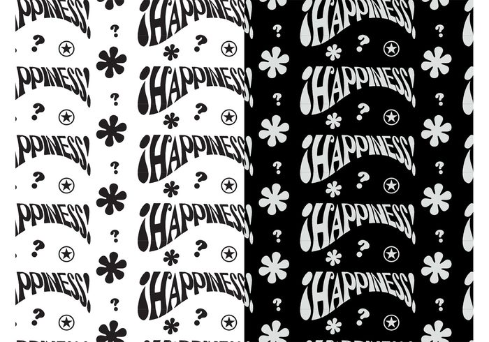 wallpapers symbols stars sixties seventies seamless patterns question marks hippie happy flowers flower power floral decorations