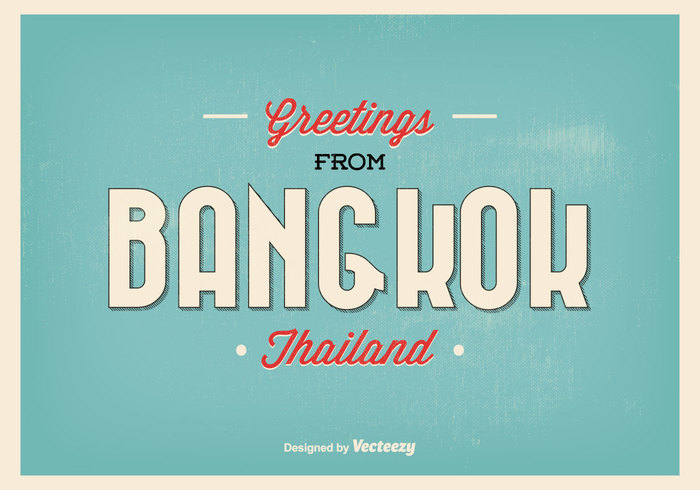 Bangkok greeting illustration 127558 welovesolo world visiting vintage vector vacation typography trip travel tourism tour thailand text style sky sign ribbon m4hsunfo