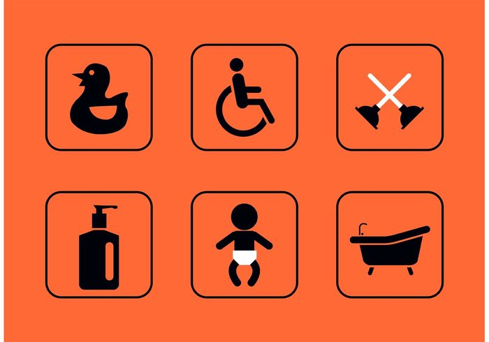 wheelchair accessible wheelchair wheel chair wc water washroom universal Unisex toilet symbol sign shower service rubber duck Restroom rest room sign rest room icon rest room liquid soap isolated icon Hygiene Handicap entrance cleanliness bathtub bathroom baby