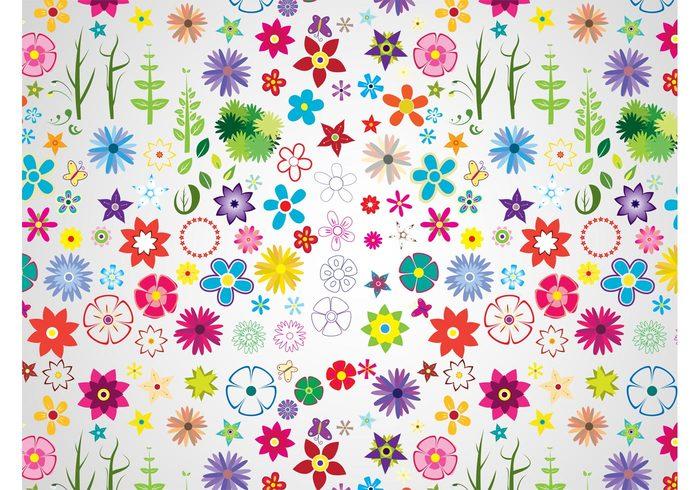 wallpaper stars plants petals nature flowers flower vectors floral colors colorful Clothing print butterflies background