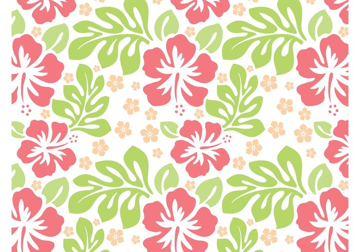 wallpaper tropical seamless pattern plants nature leaves hibiscus hawaii flowers floral Clothing print blossom background