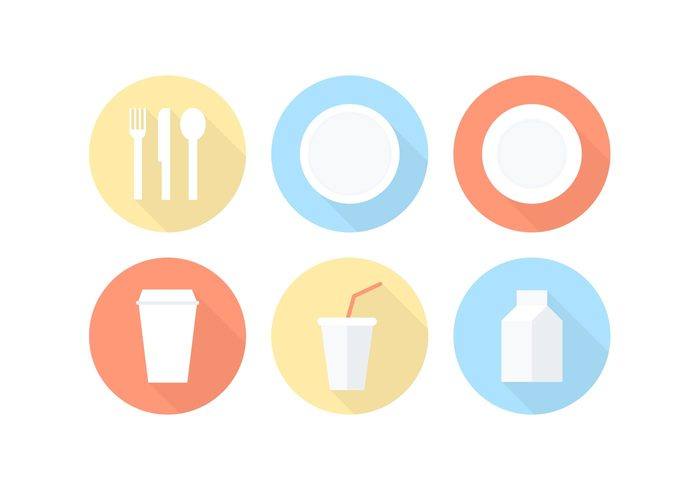 white vector utensils Tableware table symbol shadow round restaurant plate paper plate paper package pack milk lunch knife kitchen illustration icon fork food foam flatware flat espresso drink dish dinner dining cutlery cup creative concept coffee cafe brunch breakfast black