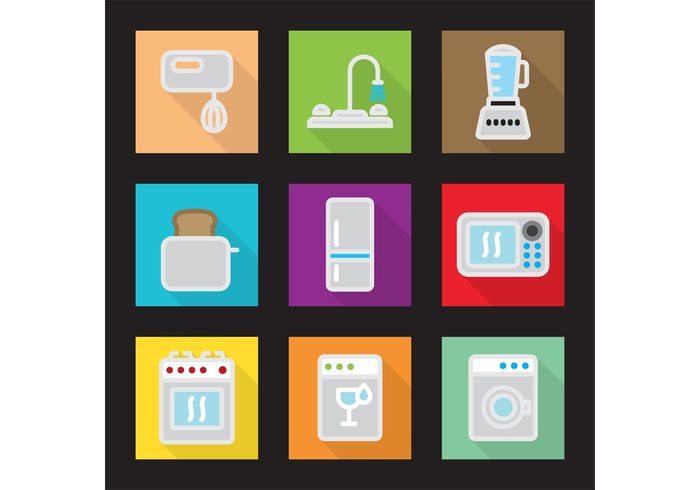 washing machine wash Toaster stove Refrigerator modern kitchen mixer Microwave oven microwave kitchen stove kitchen icon kitchen icons icon freezer flat style flat design flat colorful color clean Blender