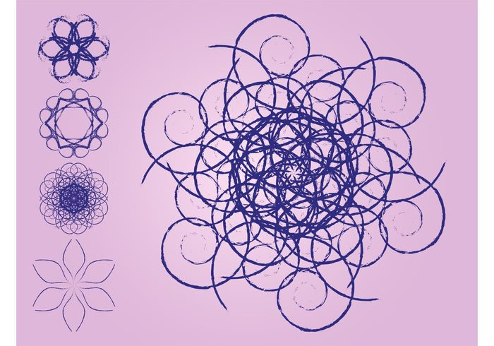 swirls spirals plants outlines logos lines icons hand drawn grunge floral decorations