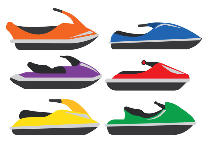 Water sport water transport style sport speed simple side view machine jet-boat jet ski isolated illustration element design colorful bike