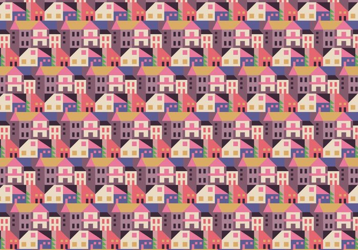 wallpaper vector trendy townhome town shapes seamless random pattern pastel ornamental mansion Geometry geometric decorative decoration deco cityscape city buildings background abstract