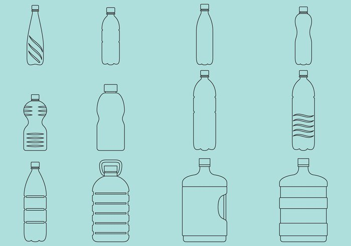 white water vector transparent template symbol soda silhouette shape set plastic outline milk liquid isolated illustration icon glass food Fluid empty drink cool container collection clean cap bottle blue blank black beverage background aqua agua