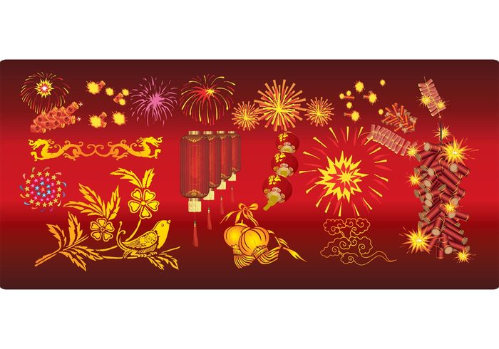 yellow wishes traditional Tradition sign scrolls red prosperity ornament oriental new year Japanese japan holiday Fireworks festive element east decoration culture chinese china celebration asia