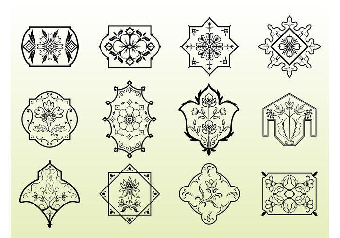 vines Textile stem scrolls plants nature flowers Floral vectors floral filigree emblem Design Elements clip art