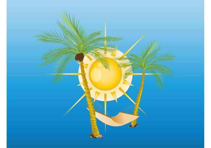 wallpaper vacation trunks tropical trees travel sunny sun summer seaside Palm vector holiday hammock greeting card Coconut palms beach
