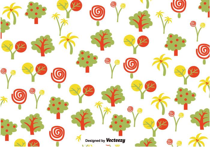yellow tree summer spring season pattern palm orange nature hand drawn green fresh flower floral cartoon