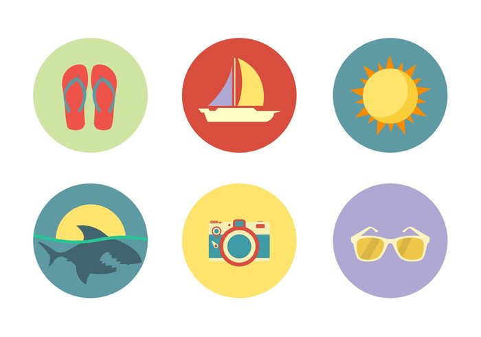 vacation umbrella travel tourism symbol sun summer snorkel shark icon shark seaside sea nature illustration icons icon holiday great white shark glasses flat camera boat blue beach