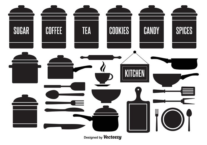 tea canister tea symbol sugar canister spoon spices saucepan Rolling pin pots pot pans pan with handle pan object knife kitchen elements kitchen illustration icon household home graphic fork food element cutlery cup cooking elements cooking cookie canister cook canisters Canister