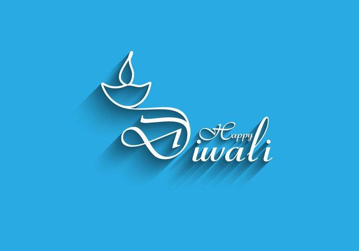 traditional paper lamp happy festival diya Diwali deepawali culture celebration card blue background artistic art
