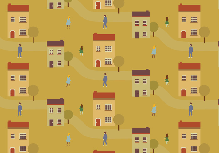 wallpaper vector trendy tree town shapes seamless random people pattern pastel ornamental Geometry deco cityscape city background
