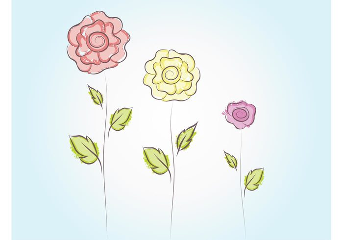 valentines day spring sketch rose romance pastel colors Mother's day love floral doodle cute bouquet bloom birthday
