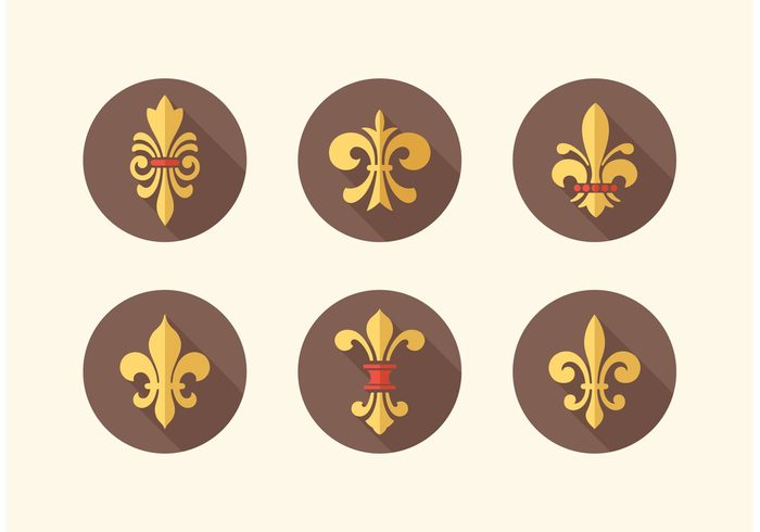 vintage vector symbol sign shadow scouting scout royalty royal renaissance ornate ornament motif medieval longshadow long lis insignia icon heraldry heraldic French france flower fleur de lys fleur de lis fleur emblem element elegance design decoration De coat of arms classical classic boy badge arms antique