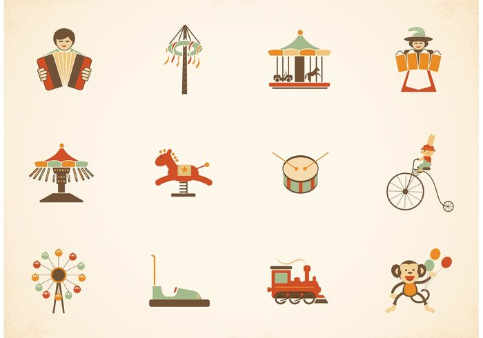 wheel vintage circus vintage vector ticket tent rollercoaster retro performer park musician monkey locomotive illustration icon horse graphic fun festival Fairground fair entertainment cute clip art Circus childish childhood carousel carnival bunny Bumper bicycle balloons Attractions attraction antique amusement