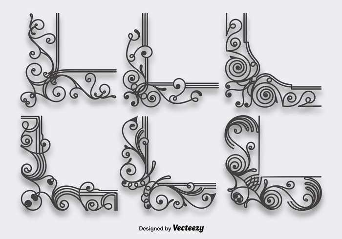victorian trendy stylized style spiral shape scrollwork pattern ornamental ornament organic lines frame flourish embellishments delicate deco curve corners border banner adorn Accent