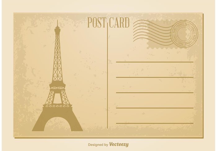 vintage postcard vintage vector postcard vacation trip travel tower tourism texture template symbol stylized silhouette romantic romance retro postmark postcard template postcard post paris postcard Paris paper old postcard old message love letter invitation holiday grunge greeting gift French france Europe element Eiffel delivery congratulation concept city card banner background art architecture