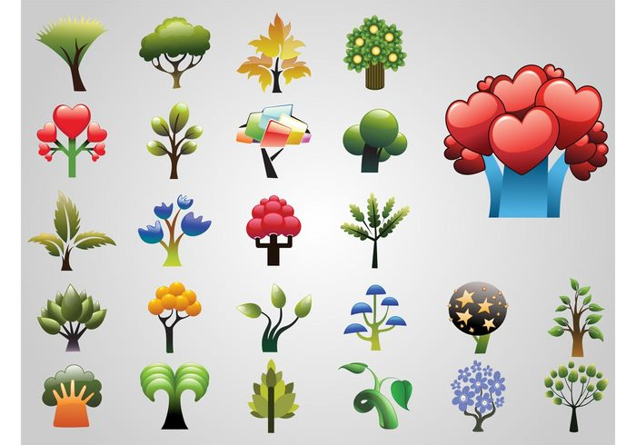 trunks trees Tree vectors plants organic nature natural logos leaves icons exotic crowns colors colorful