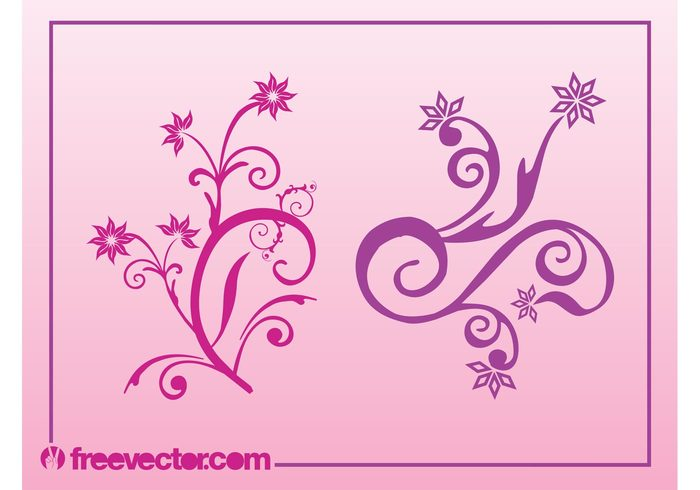 vintage swirls swirling spirals silhouettes scrolls petals lines leaves decorative decorations blossoms