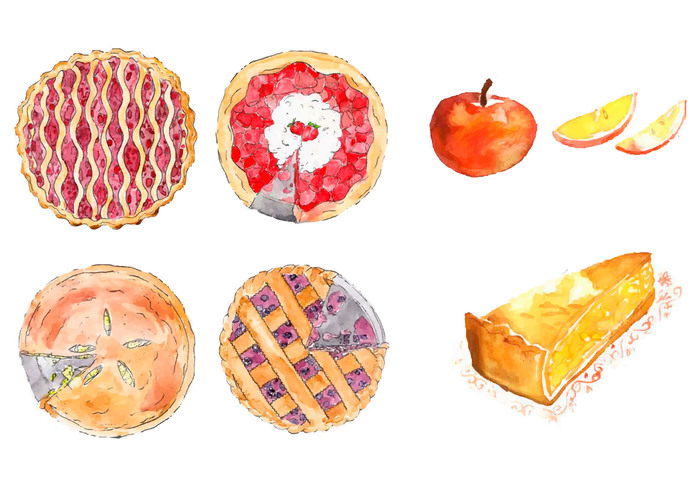 white watercolor view top texture strawberry stains splash sketch pie pastry painted isolated Homemade hand golden fruit fresh food dish dessert crust crunchy cranberry cherry brown Berry bakery baked background apple pies apple pie apple