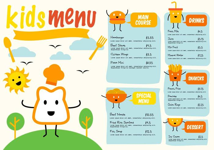 yummy text template sausage restaurant poster Place paper menu meal lunch list line layout kids menu kids kawaii illustration Healthy hat happy graphic fries fresh French frame fork food flyer eat drawing doodle dinner design cute cup creative cow cooking cook concept childish child chicken chef cat cartoon card burger bread border banner background baby animal