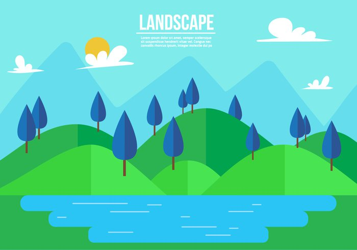 vacation travel tourism sun summer rolling hills Relaxation Outdoor nature mountains landscape flat elements eco design concept canada banner background alps alaska