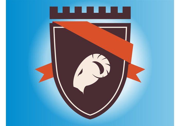symbol shield royal ribbon ram queen monarch logo knight king icon heraldic head armor