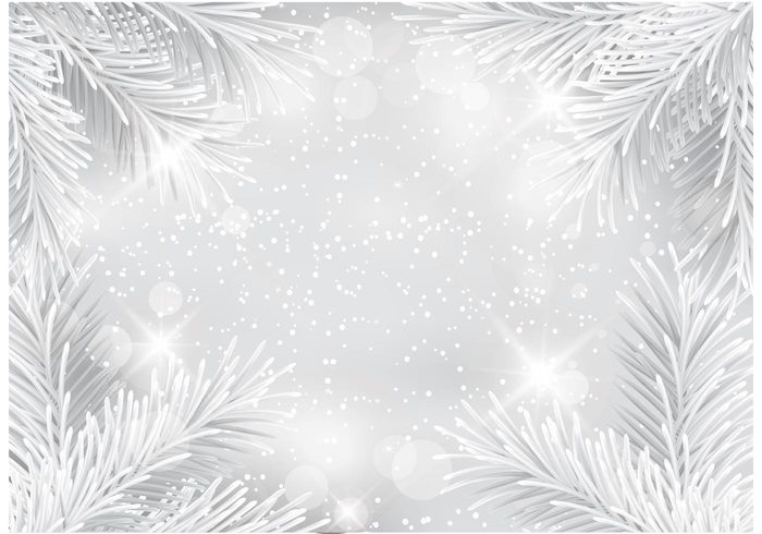 winter white wallpaper vector twinkle template sparkle spark snowflakes snow silver glitter silver pine needles lights illustration holiday glowing glow glitter design decoration christmas card branch Blink background abstract