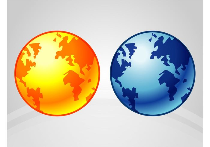 world templates stickers round planet oceans logos land globe global continents