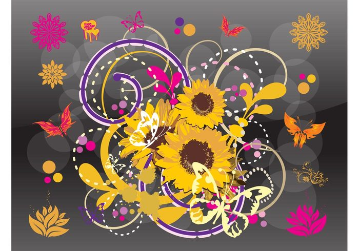 sunflower Sun flower spring plants nature vector flowers Flower illustrations Flower graphics decoration butterfly vector
