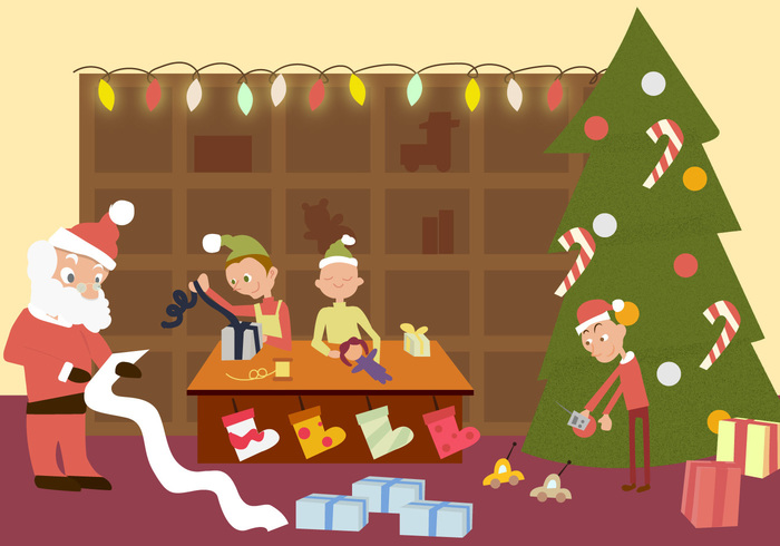 xmas workshop winter traditional seasonal santas workshop background Santa's workshop santa saint red presents Noel holiday happy gifts father event December Claus christmas childhood celebration