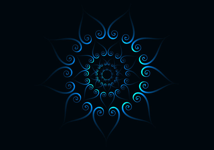 shape Repetition pattern glowing flower flora design dark curve CONCENTRIC Centre bright blue background abstract