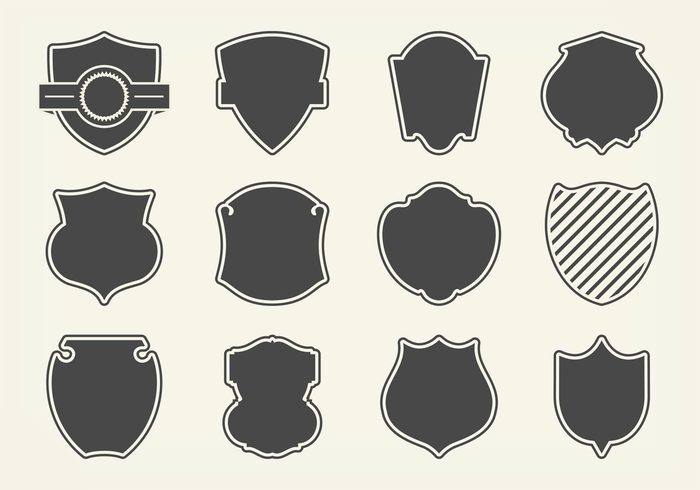 vector symbol silhouette sign shield shapes shield shape set security safety protection pictogram ornate object medieval label insignia illustration icon honor heraldry heraldic guard graphic frame emblem element design Defence decoration collection Coat classic blank banner badge award arms antique