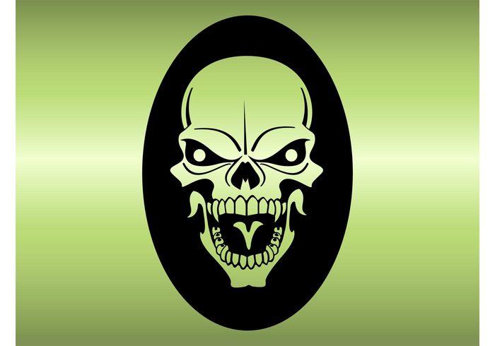 teeth tattoo sticker skeleton mean head halloween evil death dead Clothing print