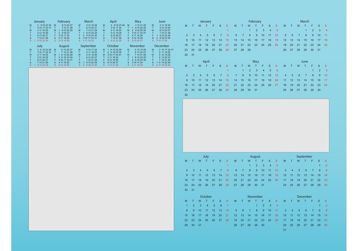 year Time management time templates Rectangles numbers new year months digits days date blank agenda