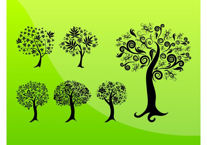 swirls spirals silhouettes plants nature lines leaves flowers floral fantasy ecology eco Cartoons