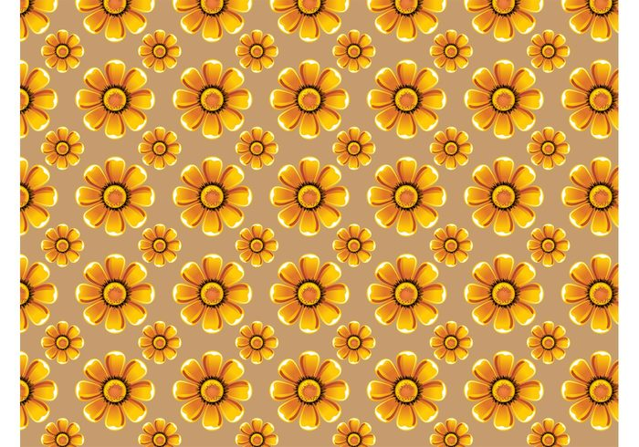 yellow vector pattern Textiles swatch Sun flower summer seamless repeating pattern nature flowers floral bright