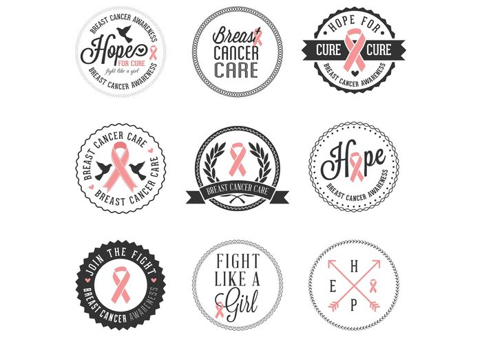 woman's vector symbol self research pink month mastectomy mammogram illustration icons hope health Fight examination elements design Cure chemotherapy Charity care breast cancer ribbon banner badge awareness